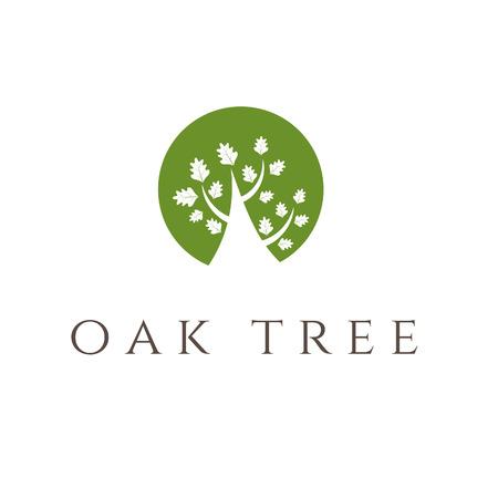 Illustration of oak tree icon. vector Vector