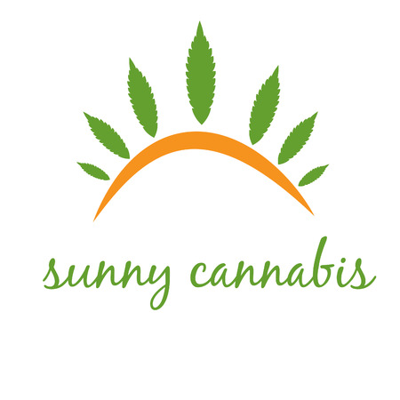 cannabis leaf: Illustration of concept icon cannabis with sun. Vector