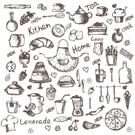cheese cake: Illustration set of hand drawing kitchen and food icons. Vector