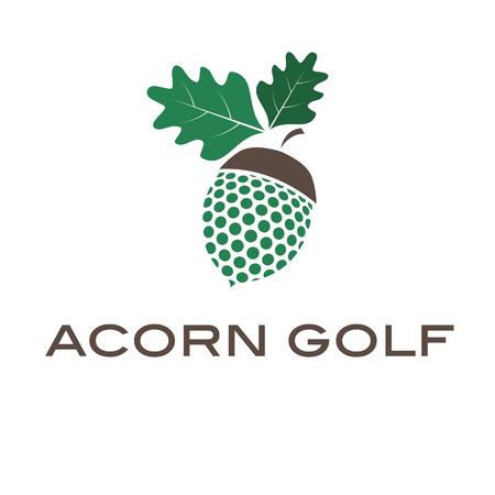 acorn tree: Illustration of concept acorn golf. Vector