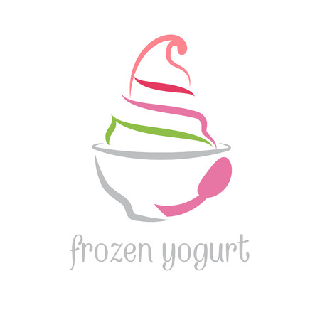 Illustration concept of frozen yogurt. Vector