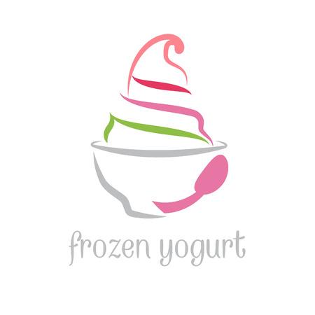 Illustration concept of frozen yogurt. Vector
