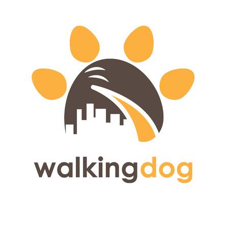 huellas de perro: Ilustraci�n concepto de la cola de perro en la pata con la ciudad. Vector Vectores