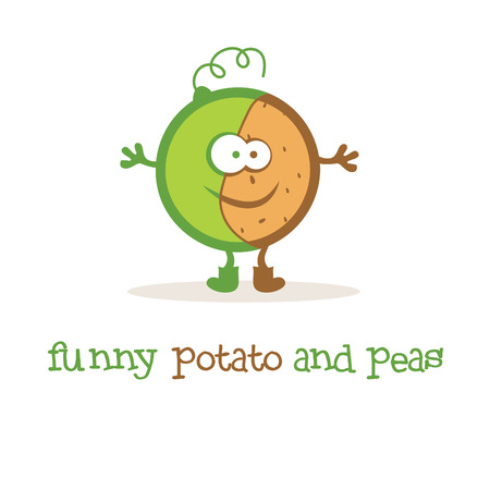 Illustration of funny potato and peas. Vector Vector