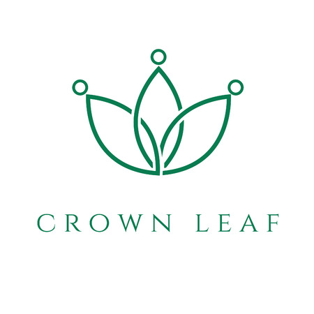 crown: Illustration of concept icon crown in the leaf. Vector Illustration