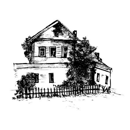 Illustration of hand drawn house. Vector