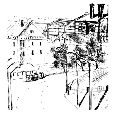 Illustration of urban species, brewery and tram, in the old city, Samara, Russia. vector Illustration