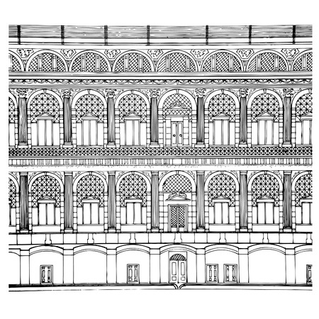 Illustration of hand drawing facade .vector