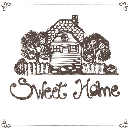 city alley: Illustration of hand drawing house with text home sweet home.Vector