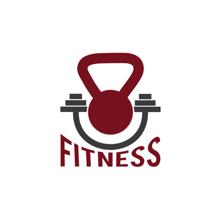 kettlebell and barbell fitness vector design template Vector