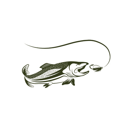 spawning: trout and lure vector design template