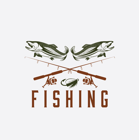 large mouth: vintage fishing vector design template