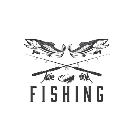 salmon fish: vintage fishing vector design template