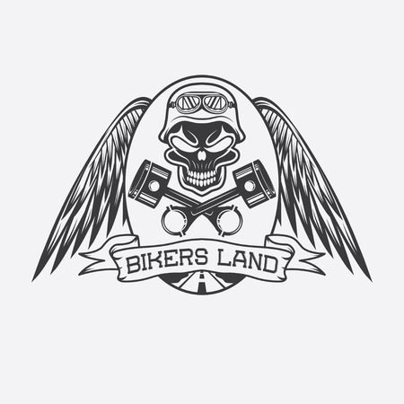 spurt: bikers land crest with skull,wings and pistons