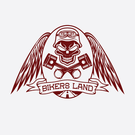 bikers land crest with skull,wings and pistons Vector