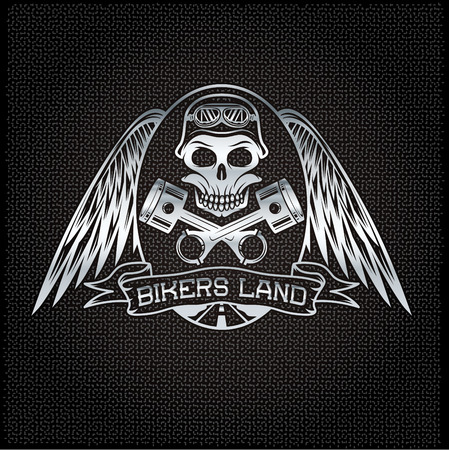bikers land silver crest with skull,wings and pistons Vector