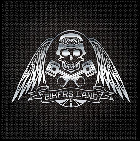 bikers débarquent crête argent avec crâne, ailes et pistons Vecteurs