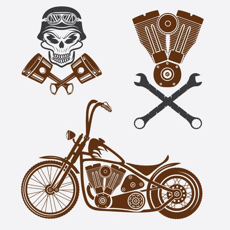 hot rod: bikers theme labels with motorbike,skull,engine and pistons