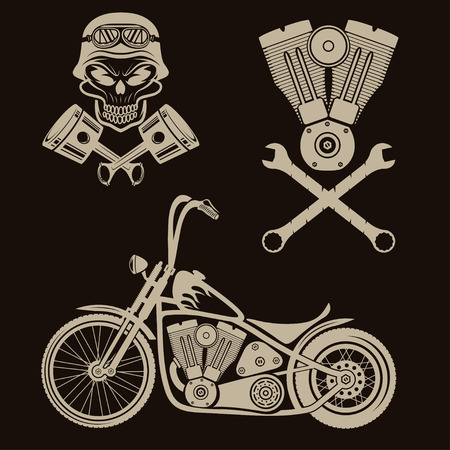 spurt: bikers theme labels with motorbike,skull,engine and pistons