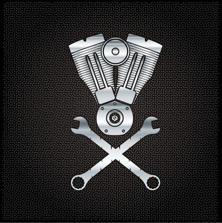 combustion: silver combustion engine on metal background