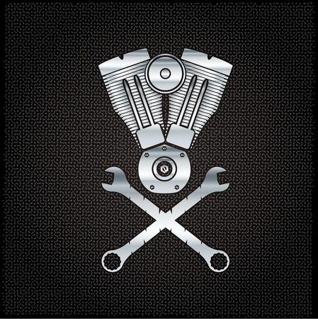 spurt: silver combustion engine on metal background