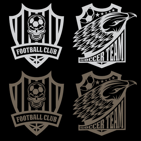 football team crest set with eagle and skull Vector