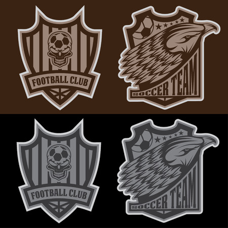 strip club: football team crest set with eagle and skull