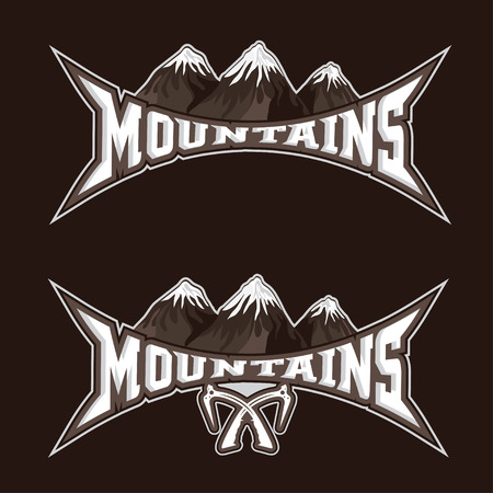 ice axe: mountains sport team emblem vector design template