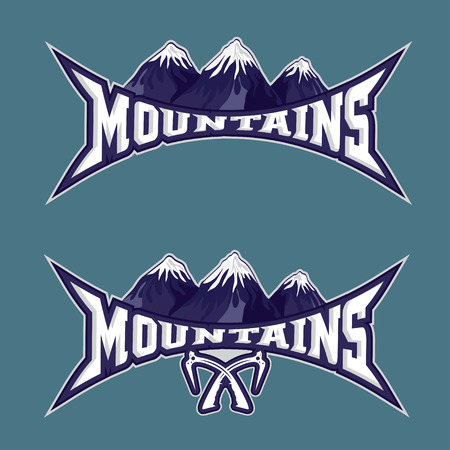 snow capped: mountains sport team emblem vector design template
