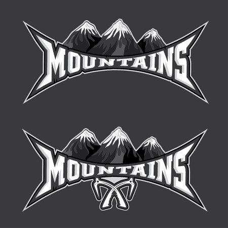 himalaya: mountains sport team emblem vector design template