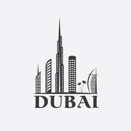 Dubai City Skyline vector design template