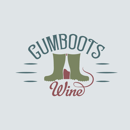 gumboots: gumboots wine retro design negative space concept Illustration