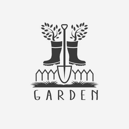 gumboots: gardening concept with gumboots,tree and shovel Illustration