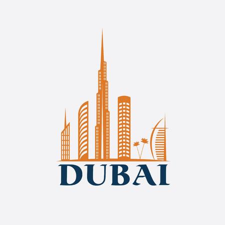 Dubai City Skyline vector design template Vector