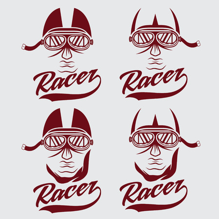 racer flag: vintage illustration set of racer head