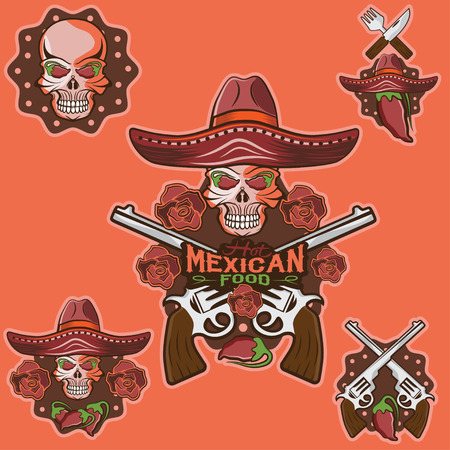 vector skull in a Mexican sombrero with chili peppers,flowers and guns Vector