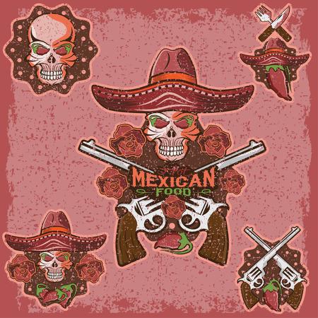 mexican sombrero: grunge cranio in un sombrero messicano con peperoncino, fiori e pistole Vettoriali