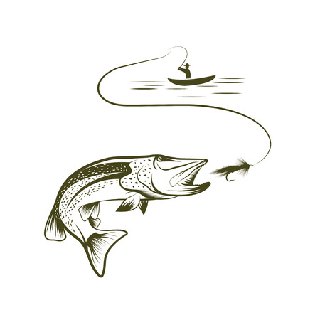 spawning: illustration of fisherman in a boat and pike