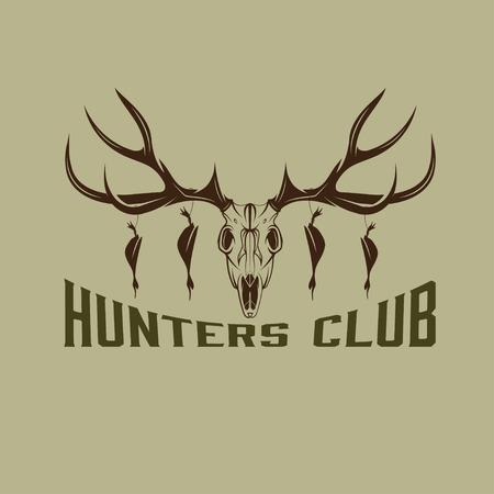 deer skull with ducks vector design template Vector