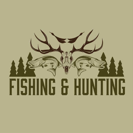 dead duck: hunting and fishing vintage emblem design template