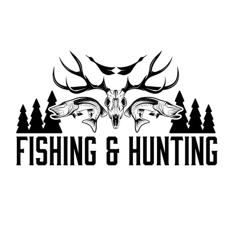 hunting and fishing vintage emblem design template Imagens - 36046084
