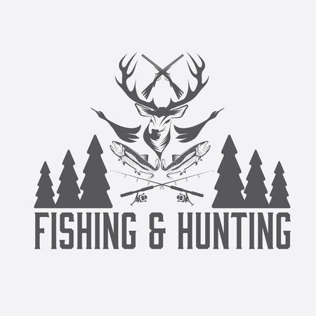 pescando: la caza y la pesca plantilla de dise�o emblema de la vendimia
