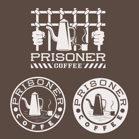 perpetrator: prisoner coffee concept design template Illustration