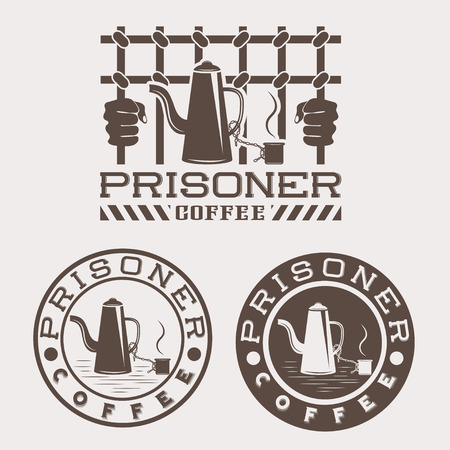 conviction: prisoner coffee concept design template Illustration