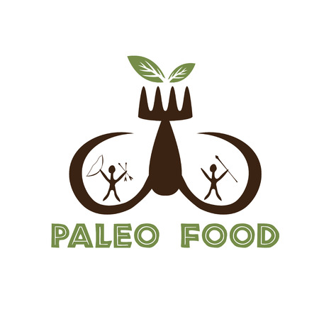 tusks: paleo food illustration with mammoth tusks and cavemans Illustration