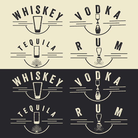 rum: whiskey,rum,vodka and tequila vintage labels set