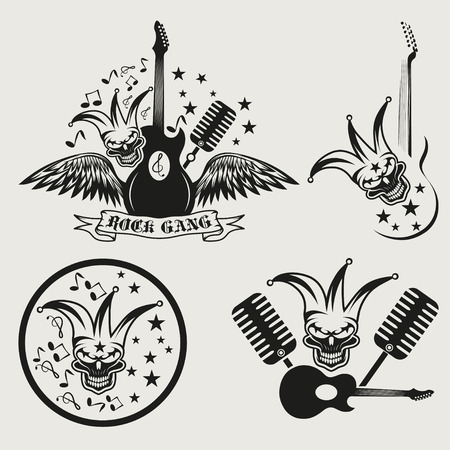 the gang: rock gang set with jester skull,wings and guitar