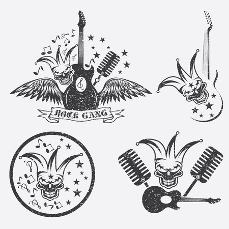 grunge rock gang set with jester skull,wings and guitar Illustration