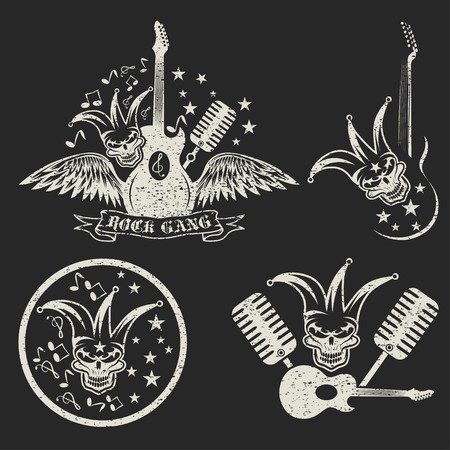 grunge rock gang set with jester skull,wings and guitar Vector