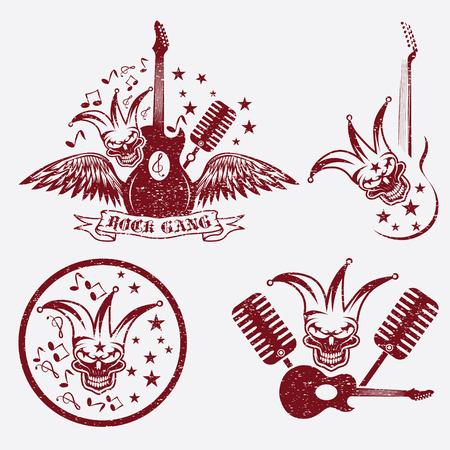 pandilleros: banda de rock grunge ajustado con el cr�neo buf�n, alas y la guitarra